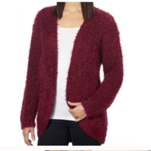 Kenzie Wine Eyelash Cardigan Sweater L
